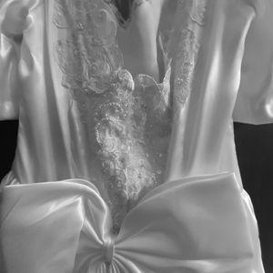 Pearl beaded wedding dress with  8 inch long train